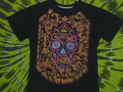 NIKE PSYCHE Fluorescent Floral Skull Design T-Shirt YOUTH XL (18-20)