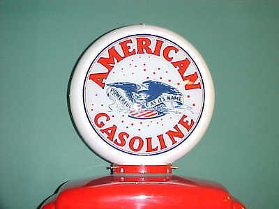 American Gasoline With Eagle Gas Pump Globe