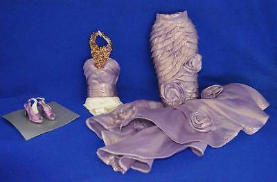 "Fantasy Masquerade Sydney Dress only 16"" Fits Tyler Tonner + purple glitter shoe"