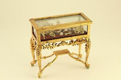 Vtg Dollhouse Miniature Toy Furniture Gilded Display Case Antique Baroque Style
