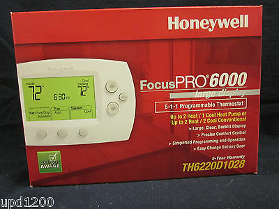 HONEYWELL FocusPRO 6000 5-1-1 PROGRAMMABLE THERMOSTAT-TH6220D1028