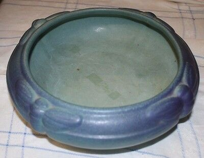 "Rare Vintage Van Briggle Dragonfly Bowl 8 1/2"" Turquoise Free Shipping"