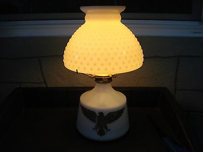 Vintage gold eagle milk glass oil lamp with hobnail milk glass shade