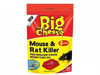 THE BIG CHEESE Mouse and Rat Killer For Home and Garden 6 Sachets STV122