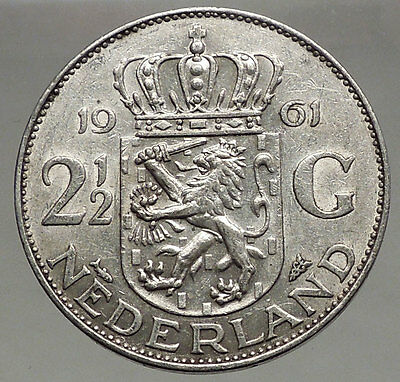 1961 Netherlands Kingdom Queen JULIANA 2½ Gulden Authentic Silver Coin i56605
