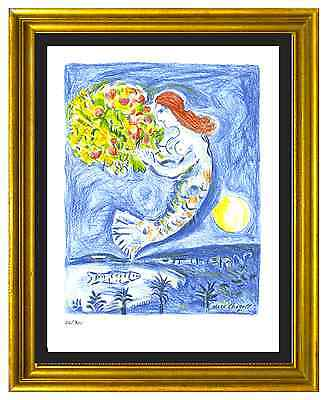 """Marc Chagall Signed & Hand-Numbered Ltd Edition """"Bay of Angels"""" Lithograph Print"""