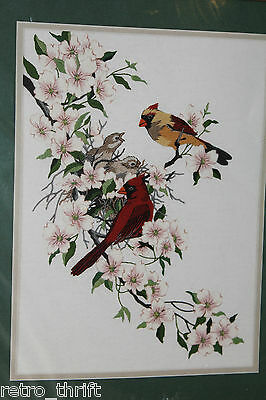"Dimensions 1516 Cardinals in Dogwood Crewel Embroidery Kit 11"" x 15"" 1998"