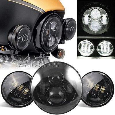 "7"" Motorcycle LED Projector Daymaker Headlight Passing Lights For Harley Touring"