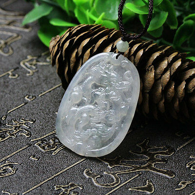 Natural A Icy White Green Jadeite Jade Chinese Carved Dragon Pendant