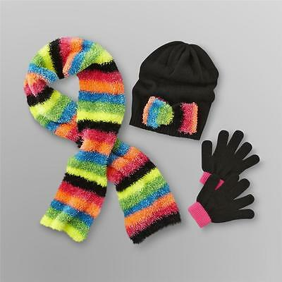 Toby N.Y.C. Girl's Hat, Gloves & Neon Stripe Knit Scarf Size 4-16 NWT
