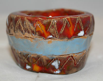 Studio Art Pottery Mini Small Red Blue Band Bowl 6.5cm Signed by Artist Sylvia