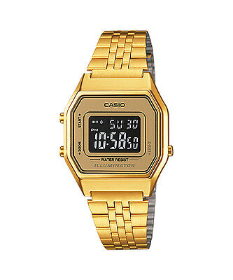 Casio LA680WGA-9B Ladies Mid-Size Gold Tone Digital Retro Watch