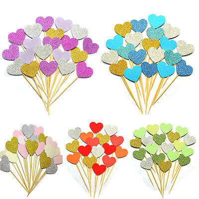 Glitter Heart Cupcake Toppers Wedding Party Birthday Decor Baby Shower Food Pick