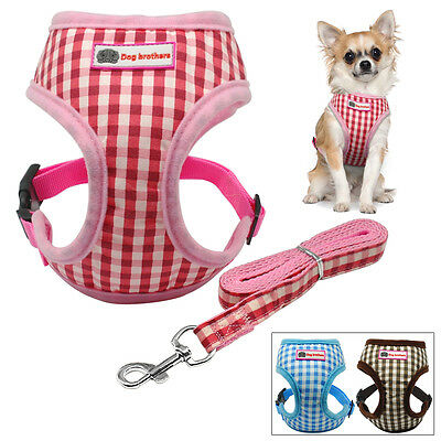 Soft Grid Puppy Dog Vest Harness and Lead Leash for Yorkie Chihuahua Toy Poodles