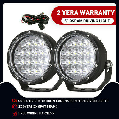 5inch OSRAM LED Driving Light Spotlights Round Offroad work 4WD Black 4x4 Spot