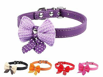 Bowknot Adjustable PU Leather Dog Puppy Pet Cat Collars Necklace