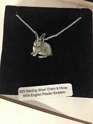 Rabbit R94 Emblem on a 925 Sterling Silver Necklace 16,18,20,26,30