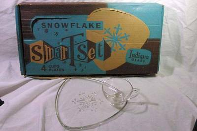 Indiana Glass Boxed Set Of 4 Snowflake Snack Plate And Cup Sets