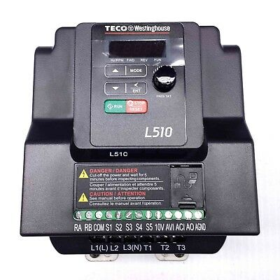 L510-202-H1 2HP Teco Variable Frequency Drive, 1 Ph Input / 3 Ph Out, 230V.