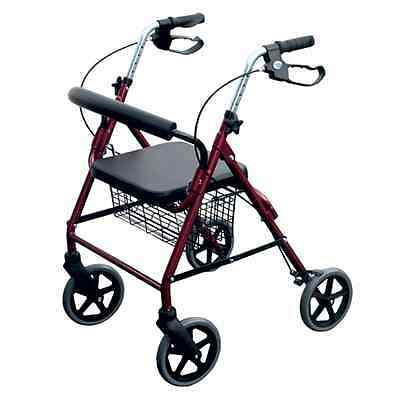Aluminium Folding Lightweight 4 wheel Rollator - Mobility Walking Frame - Ruby