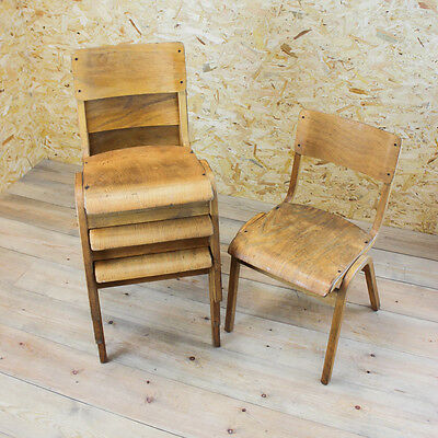 4 x Vintage Industrial Tecta Stacking School Chair - Eric Lyons Mid Century 1950