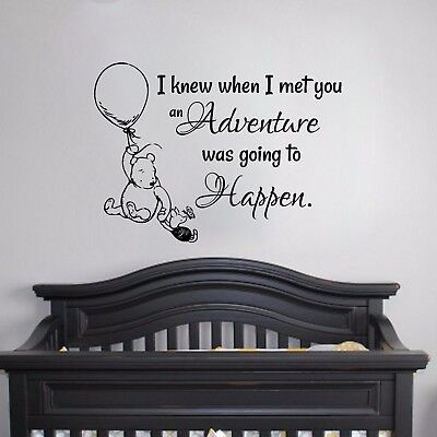 Winnie the Pooh- Wall Vinyl Decal Nursery Baby Shower Gift Pooh Theme Decor Art
