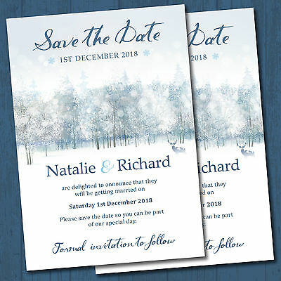 Personalised Wedding Day Save the Date Cards & Envelopes - Winter Wonderland