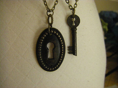 Rustic Antique style Keyhole Skeleton Key and Escutcheon Necklace set of two 2