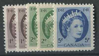 Canada #337/341 1954 Wilding Issue Selection of 5 Diff. Papers & Shades VF-84 NH