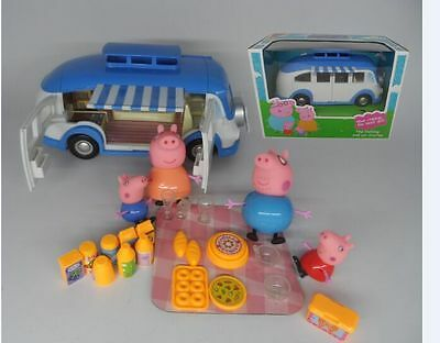 New Peppa Pig Blue Car Vehicle Toy with Action Figure Peppa George Daddy Mummy