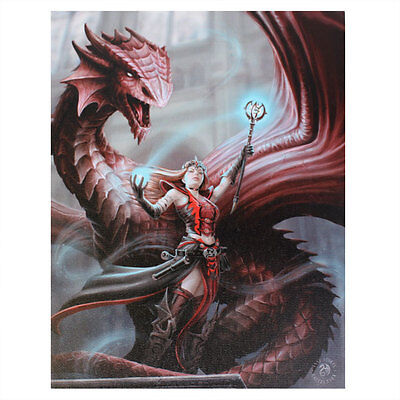 Anne Stokes Gothic Dragon Scarlet Mage 25cm x 19cm Canvas Print