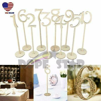 "14"" Tall Table Number Wooden Stick 11-20 Set w/ Base For Wedding Birthday Party"