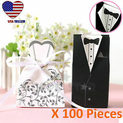 100pcs Wedding Party Collar Groom Tuxedo & Bride Dress Candy Gift Box w/ Ribbon