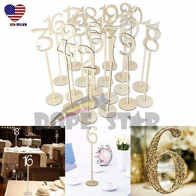 20x Table Number Wooden Stick 1-20 Set w/ Base For Wedding Birthday Party