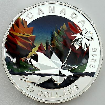 Canada 2016 $20 Geometry in Art: The Maple Leaf, 99.99% Pure Silver Color Proof