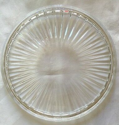 """Heavy MIKASA Crystal Cake Plate Round Footed Platter Starburst Rays Label 12"""""""