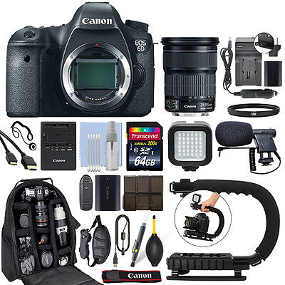 Canon EOS 6D DSLR Camera with 24-105mm f/3.5-5.6 IS STM Lens+ 64GB Pro Video Kit