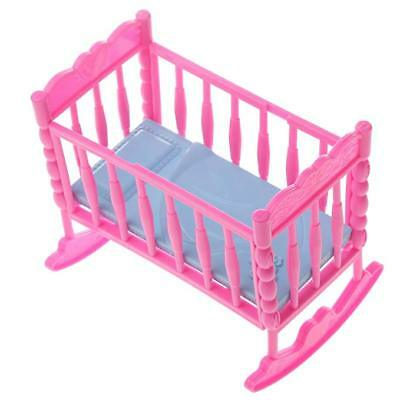 1x PINK BARBIE SINDY DOLL SIZE PLASTIC FURNITURE BABY COT BED UK SELLER FREE P&P