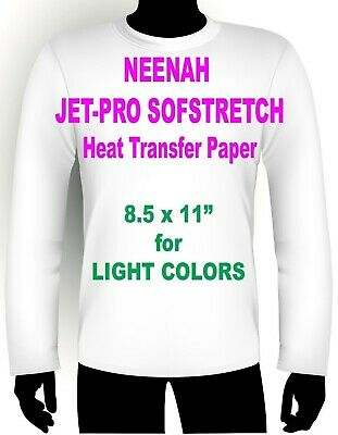"Sofstretch Inkjet Iron On Heat Transfer Paper Neenah Jet Pro Ss 8.5 X 11"" 75 Pk"