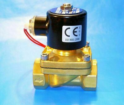 "1-1/2"" NPT 12-Volt DC Electric N/C Brass Solenoid Valve: Air Water Vacuum Diesel"