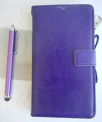 ULAK Samsung Galaxy Note 3 Leather Wallet Case Credit Card ID Stylus Purple