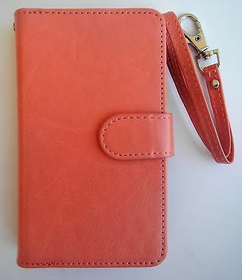ULAK Samsung Galaxy Note 3 Leather 9 Card Wallet Case Coral Pink