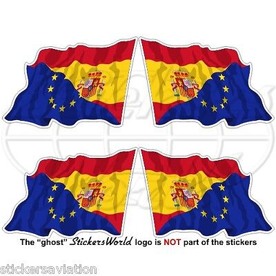 EUROPE-SPAIN Flying Flag, EU-ES European Union-Spanish 50mm Stickers Decals x4