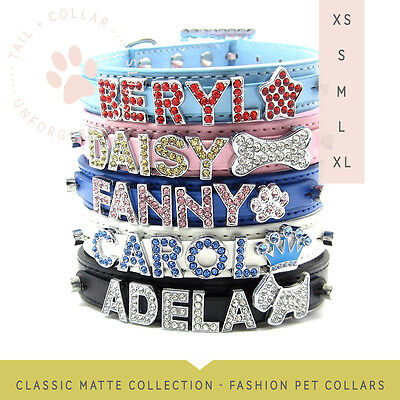 Classic Matte Dog Collar with Bling Buckle, Letter Sliders for Name + FREE BONUS