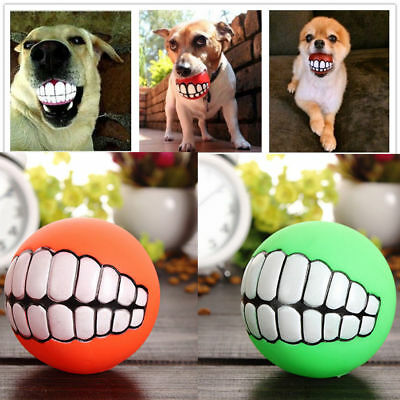 Funny Pet Dog Giggle Ball Tough Treat Training Chew Sound Activity Toy Squeaky