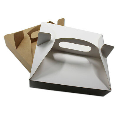 Kraft Paper Pizza Packaging Boxes With Handle Takeaway Fast Food Cake Pack Boxes