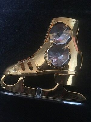 Unusual Crystal Glass Ice Skating Boot With Gold Colour Metal Detail