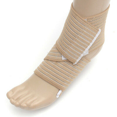 Elasticated Ankle Wrap Support Compression Strap Beige Arthritis Medical Fitness