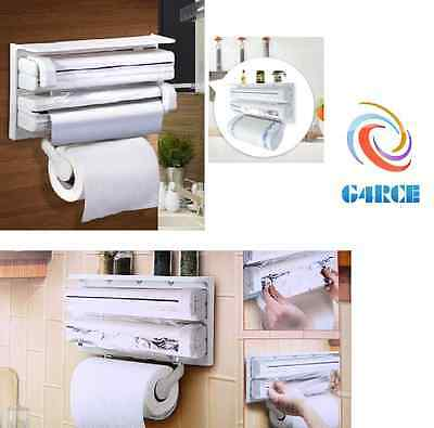 Paper Dispenser Triple for Cling Film Wrap Aluminium Foil Kitchen & Roll Holder