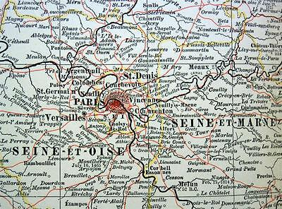 The Century Company Atlas Map Plate #82 Paris France Vicinity 1897 Vintage